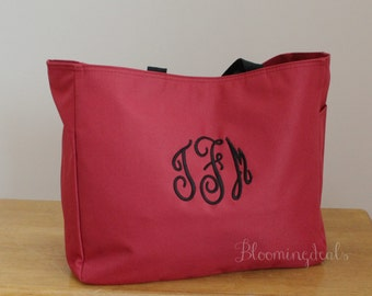 Monogrammed Tote Bag, Large Canvas Bag, Travel Tote Bag, Personalized Christmas Gifts Under 20 Dollars