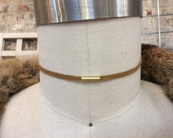 skinny honey gold leather with brass bead choker necklace