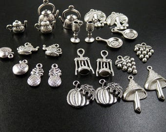 Tea Pot Charm Antique Silver Bead 11mm - 50mm CHOICE Wine Opener Fork Pineapple Grapes Mushrooms Cocktail Spoon Frying Pan (1083chm50s1)