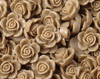 Cabochon Flower 14 Resin Round Rose Flower Opaque 15mm Light Brown (1013cab15m6-16)