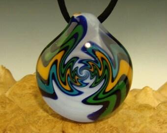 GLASS Wig-Wag Vortex Spiral Pendant Boro Bead Lampwork focal borosilicate Bead by Connan