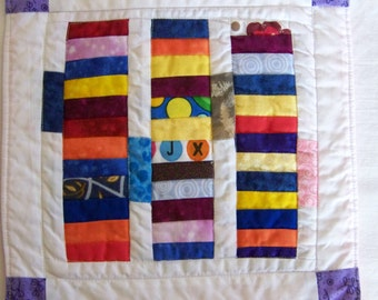 Mug Rug Coaster Art Quilt or Mini Quilt Bits and Pieces  Primary Colored Tiles