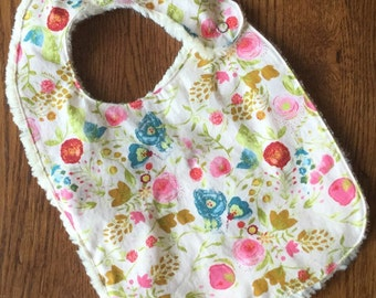 Pink and Cream Floral Minky Baby/Toddler Bib