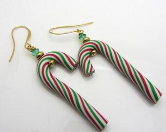 Candy Cane Earrings Christmas Earrings Peppermint Stripe Dangle Earrings Christmas Jewelry Polymer Clay Red White and Green Earrings SRAJD