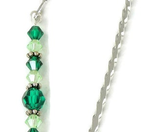 May Bookmark - Emerald, Hook Bookmark, Crystal Bookmark