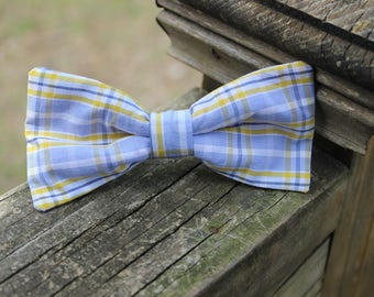 Light Blue and Light Yellow Plaid Little Boy Big Boy Bow Tie Clip