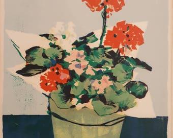 Original Lithograph | Geranium Andrew Shunney c. 1970