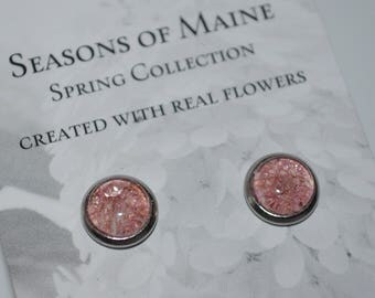 Post Earrings made with real Maine Grown Flowers-Seasons of Maine Spring Collection-Made in Maine Jewelry-Maine nature inspired jewelry