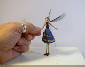 ooak poseable miniature itsy bitsy TINY fairy  ( # 51 ) polymer clay art doll by DinkyDarlings elf pixie faery