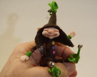 ooak poseable very happy tiny ELF pixie  ( #22 ) polymer clay art doll by DinkyDarlings  fairy angel