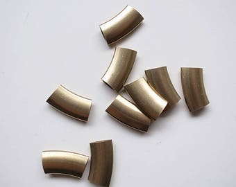 10 pieces of vintage old stock raw brass tube flat shape curve 20x10 mm long with 9mm opening thick
