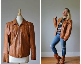 SPRING SALE 1970s Casablanca Cognac Leather Jacket /// Women's Size lg to xl /// Men's Size md to xl