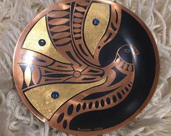 Modernist Bird Mixed Metal Plate w/Lapis Lazuli Rivets