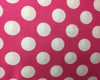 "Pink White Polka Dot New Window Curtain Valance 42""W x 15""L"