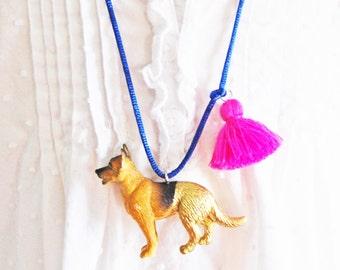 Kids Dog Necklace. Dog Necklace. Girls Dog Necklace. German Shepherd Necklace. Tassel Necklace. Gift for Dog Lover. Boho Necklace.