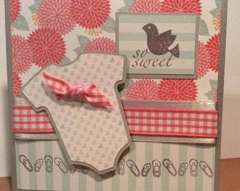 Baby Girl Card, Baby Onesie Card, New Baby Card
