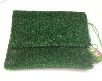 GREEN PARTY Grass Pochette gift Fun Kid Babooshka doll Jewelry Survival wishtle BBJUDesign