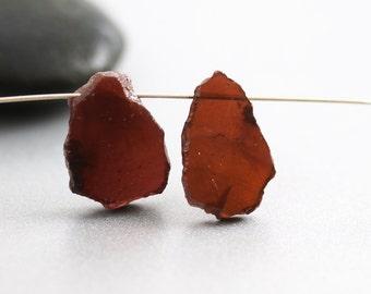 Red Garnet Beads - Organic Slab Pair - Garnet Beads - 15mm