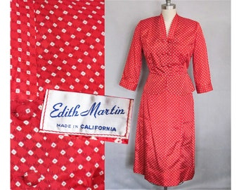 28 waist, Red Suit / New Look Hourglass 1950s / Dotty Red Taffeta Vintage 50s Betty Page, Rockabilly, Bombshell, I Love Lucy style