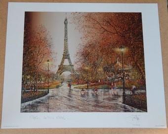 Set of 3 Vintage Paris Prints Signed by Guy Dessapt