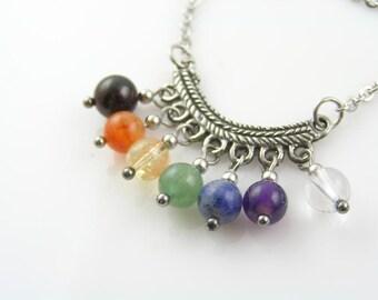 Chakra Necklace, Gemstone Necklace in Chakra Colors, Gem Jewelry, Handmade Chakra Gemstone Necklace, Chakra Pendant, Chakra Stones