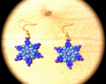 Uniquely Different Handwoven Seed Bead Earrings Medallion Style native boho gypsy hipster star flower southwestern ethnic tribal african