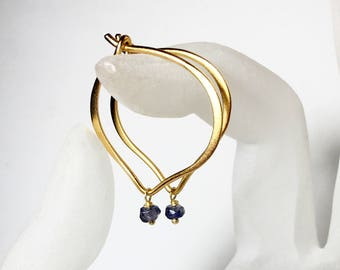 Iolite Gold Hoops, 24K Gold Vermeil Lotus Ear Wires, Medium or Large Hoop Earrings, Water Sapphire, Gifts for Her