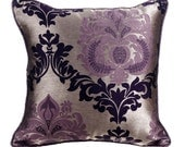 "Plummy Damask Throw Pillows Cover, 16""x16"" Jacquard Throw Pillows Cover, Square Couch Toss Sofa Damask Pillow Cover"