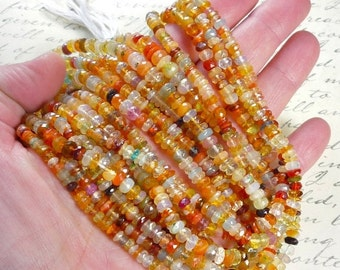 25% Off Sale Mexican Fire Opal ROndelle Beads, 4mm Fire All Transparent Natural Gemstone,