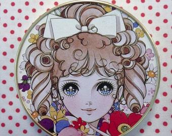 Vintage Japan Retro Girl Anime Macoto Mirror Compact HTF