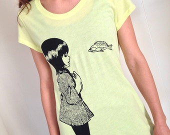 Underwater Kate screenprint womens tshirt. Neon yellow green with eco black ink - junior womens sizes S, M, L, XL
