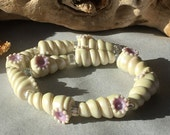 Handmade Lampwork Glass Beads SRA Pearled Ivory Horn Shell Sea Spirals (10)