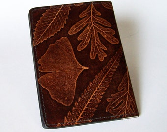 Leather Top-Stub Checkbook Cover with Leaf Design - Leather Checkbook Holder