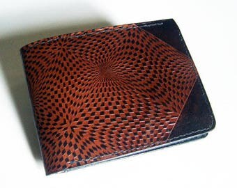 "Leather Wallet - Thin Bi-fold with Kaleidoscope Design - Men's Leather Wallet - ""B"" Style Interior"