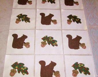 "Set of 12  Squirrels, Oak Leaves and Acorns   6"" x 6""  Cotton Quilt Blocks"