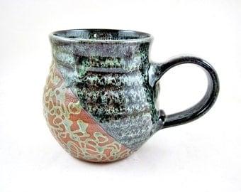 Handmade pottery mug, Ceramic mug, large coffee mug, dark green mug, 20 oz - In stock