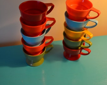 Vintage 10 Colorful Plastic Coffee Cup Holders, 60s