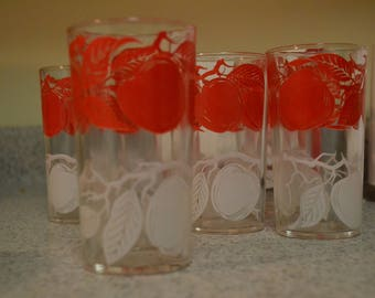 Vintage 6 drinking glasses, red and white, apple design, 8 oz.