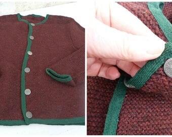 Vintage Austria 1970/70s Hand knitted baby  sweater /  Trachten dirndl size 4/5 years