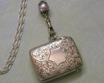 Antique English Sterling Vesta or Match Safe With Detachable Sterling Chain, Old Sterling Match Safe or Vesta, Assemblage Necklace #N273