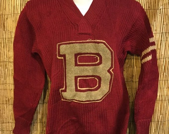 1930s husk wool burgundy letterman sweater