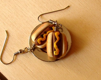 Hot Dog Earrings - Miniature Hot Dogs with Mustard - Miniature Food Jewelry - Grilled Hot Dog Jewelry - Mini Baseball Food