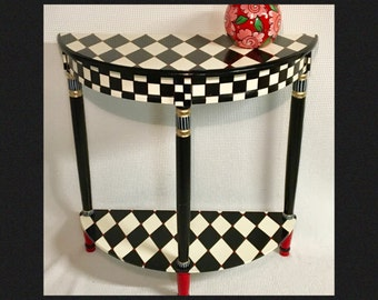 Whimsical Painted Furniture, Harlequin Painted Table, Half Moon Crescent  Table, Whimsical Painted Furniture