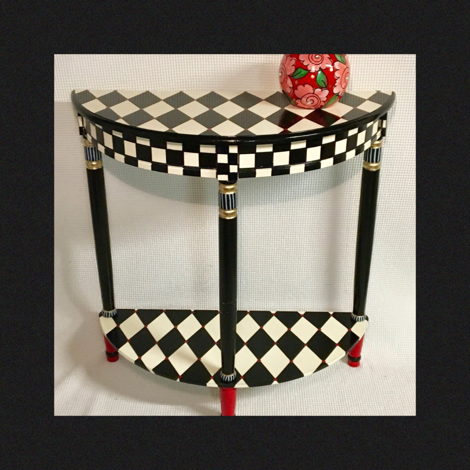 Whimsical Painted Furniture Harlequin Painted Table Half