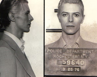 REMASTERED David Bowie MUGSHOT Poster Print Photograph (with or without Frame) Various Sizes