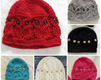 Crochet Owl Hat - Crochet Owl Beanie, custom order, Buttons, Crocheted, Handmade, Crochet Winter Beanie, Owl Beanie, Owls, Custom Order