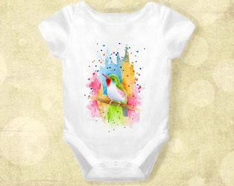 Baby Infant Creeper Onesie Bodysuit One Piece Bird 72 colorful art painting L.Dumas