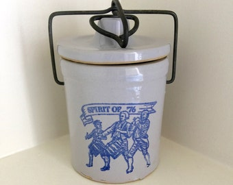 Vintage Spirit of 76 Cheese Crock Bicentennial Collectible United States Patriotic Americana