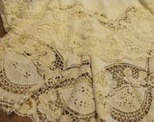 Bountiful Lace...Antique Lace Round Tablecloth,Repurpose Lace for Lagenlook, Wedding Dresses,Pillows...