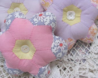 Repurposed Vintage Quilted Pillows  Set 3 ...Pillow Tucks  Grandma's Flower Garden Quilt Section